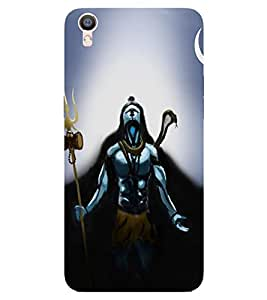 Takkloo Lord shiva blue background,god of hindus, painting of shiv, beautiful painting of shiv, shiv with damru and trishool) Printed Designer Back Case Cover for OPPO R9s