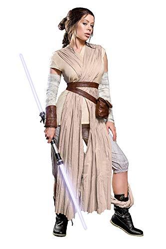 Mask Paradise Rey Damen Kostüm für Star Wars Fans 10tlg Beige - - Rey Skywalker Kostüm