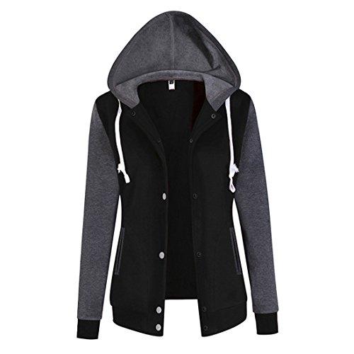 CHENMA Damen Kontrastfarbe College-Jacke Bekleidung Sweatjacket mit Kapuze