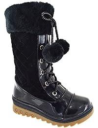 Botas de nieve para niña hasta la pantorrilla, moda de invierno, con tacón bajo de cuña, tallas 25 a 35
