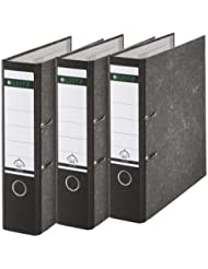 Leitz 310305095 Qualitäts-Ordner 180A mit Schlitzen A4 Breit, 3 Stück, schwarz