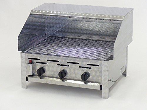 Edelstahl Gasgrill Gastrobräter mit Grillrost, Sicht- und Spritzschutz aus Edelstahl - Hergestellt in Deutschland