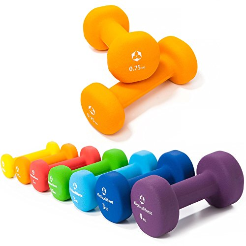 2er-Set Hanteln 0,5kg, 0,75kg, 1kg, 1,5kg, 2kg, 3kg & 4kg / rutschfeste & griffige Neoprenoberfläche »Peso« Kurzhanteln (Aerobic-Gewichte) in verschiedenen Gewichts- und Farbvarianten. Das Hantelset besteht aus 100% Eisen - Die Gewichte bzw. das Kurzhantel-Set eignen sich für Gymnastik, Fitnesstraining, Physiosport & Heimtraiing. Das Hantelpaar ist schön griffig, einfach zu reinigen & resistenz gegen Schweiß & Feuchtigkeit / 0.75kg, orange