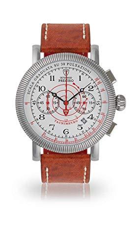 Detomaso preciso de Hombre Reloj de Pulsera Cronógrafo analógico de Cuarzo Pulsera de Piel marrón Esfera Blanca dt1063de D de 969