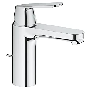 GROHE 23325000 Eurosmart Cosmopolitan Bathroom Tap (Pop-Up Waste and High Spout), Medium