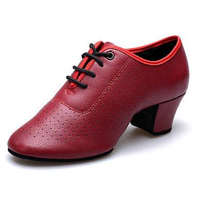 Scarpe da ballo-Non personalizzabile-Da donna-Balli latino-americani Moderno-Quadrato-Di pelle-Nero Rosso Bianco Red
