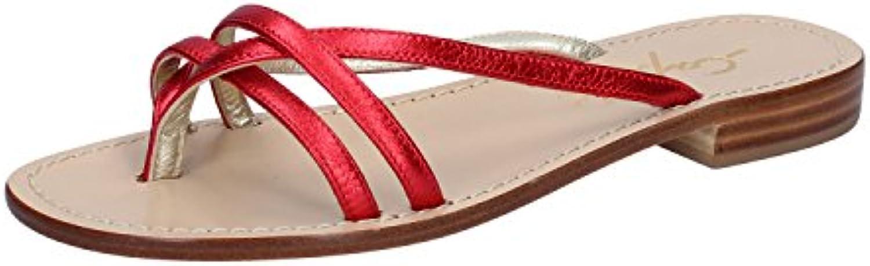 CAPRI SOLEAE Sandalias de Piel Para Mujer Rojo Rojo
