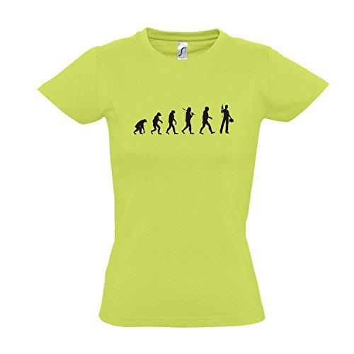 Damen T-Shirt - EVOLUTION - Handwerk III FUN KULT SHIRT S-XXL Apple green - schwarz