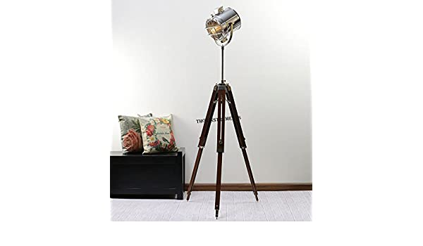 Vintage Designer Royal Marine Tripod Floor Lamp Stand BY ...:NAUTICALMART Industrial Style Vintage Movie Spot Light Floor Standing Tripod  Lamp Silver,Lighting