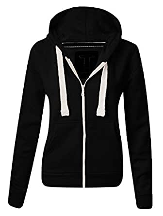 Ladies New Plain Casual Long Sleeve Pocket Hoody Top Womens Fixed Hood Stretch Front Zip Contrast Drawstring Detail Basic Hooded Jacket WOMENS PLAIN HOODIE LADIES HOODED ZIP ZIPPER TOP SWEAT SHIRT JACKET COAT SWEATER, SIZES (S-XL) (S, Black)