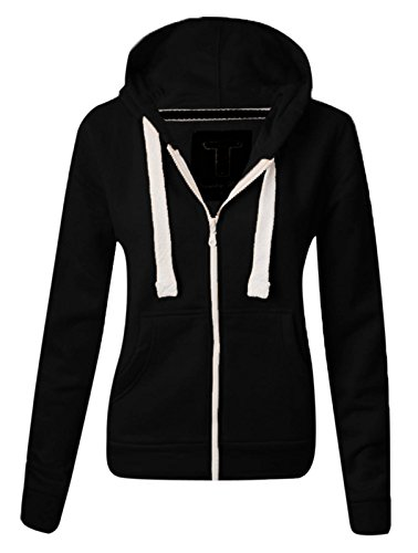 Made by Malaika® WOMENS PLAIN HOODIE LADIES HOODED ZIP ZIPPER TOP SWEAT SHIRT JACKET COAT SWEATER, SIZES (UK 8-22)