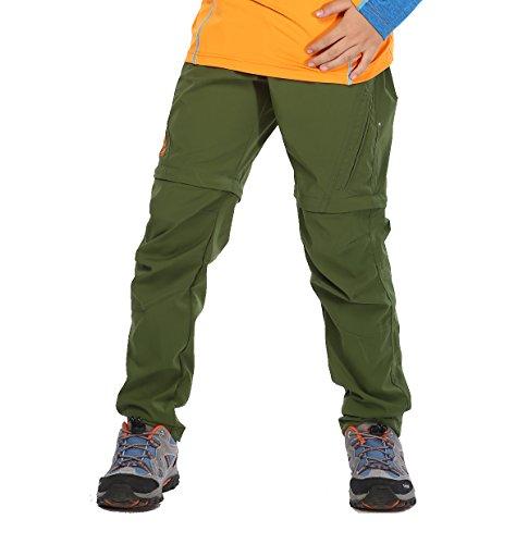 MFEILER Jungen Zip-Off Hose Atmungsaktiv + Schnelltrockend + Leicht + Wasserdicht Kinder Outdoor Hose Trekkinghose Wanderhose Armeegrün 120