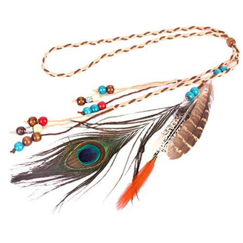 Lurrose diadema de plumas de pavo real bohemia diadema hippie borla sombreros accesorios para el cabello para mujeres niñas