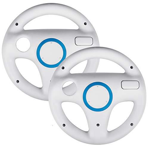2 Stücke Mario Kart Wii Lenkrad, Beinhome Wii Racing Wheel Lenkrad für Nintendo Wii Spiele und Wii U Racing Spiele(Weiß)