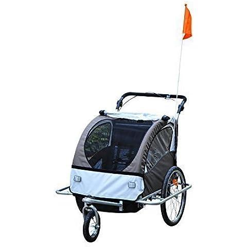 Remolque Infantil para Bicicleta 2 PLAZAS Rueda Giratoria 360° Amortiguadores BARRA INCLUIDA Kit Footing