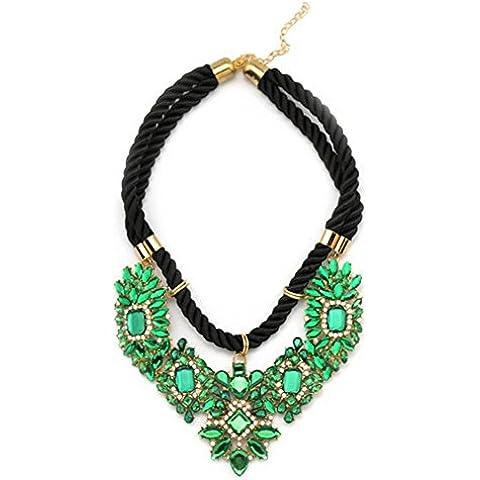 TWOPAGES - Collana girocollo con ciondolo, da donna, con maglia a corda intrecciata, colore: verde smeraldo