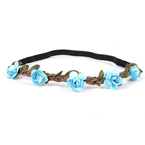 Phenovo Bandeau de Fleurs Elastique Bohème Accessoire pour Eté Plage Mariage Festival - Bleu Ciel