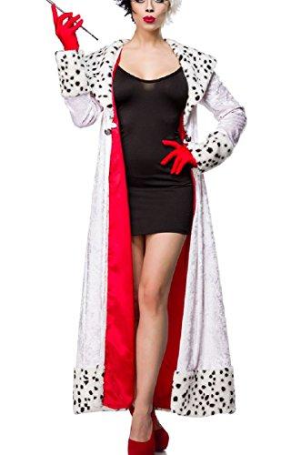 Damen Dalmatiner Outfit Kostüm Kleid mit Mantel im Dalmatiner Look und Handschuhe in Evil Dalmatian Lady M Verkleidung (Dalmatiner Kostüm Kostüm)