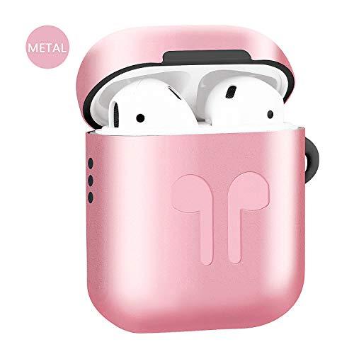 Metallische Airpods Schutzhülle Hülle 2019 Neuestes AirPods Hülle Kompatibel mit Apple Airpods 1 & 2 Kabelloses Ladecase-Version Zubehör-Kits (Für Airpods 1 & 2 Standard versionen, rosa)