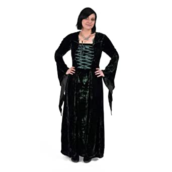 Mittelalter Gewand Kleid grün Schnürung tailliert edel schimmernd bis Gr.XXL - S