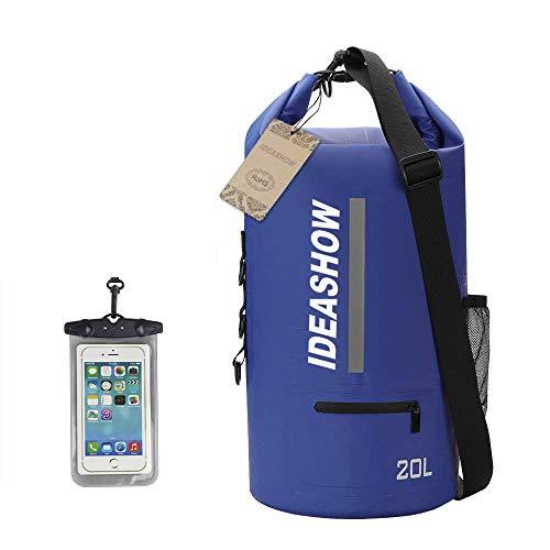 LNIDEAS 20L Wasserdichte Dry Bag, Verstellbare Schultergurt Sack Tasche für Kajak/Bootfahren / Kanufahren/Rafting / Schwimmen/Camping / Snowboarden, mit Extra wasserdichtem Telefon Fall (Blau)