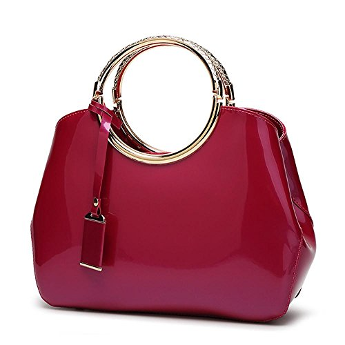 Ms. diagonal Paket Mode Lackleder helle Gesichtsdamenhandtasche Schulter Umhängetasche 2
