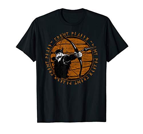 Viking Warrior Archer Distressed Runes Design T-Shirt - Show Archer Shirt