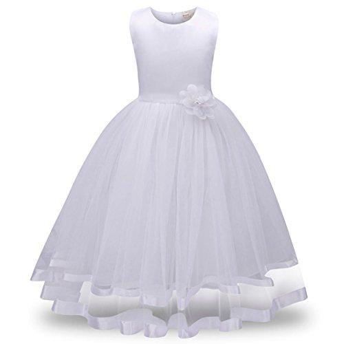 nkleider Tutu Tüll Prinzessin Hochzeit Spitze Kinder Hochzeit Ballkleid Kleider (Höhe: 160 cm, Weiß) (Schlichte Weiße Halloween-kleid)