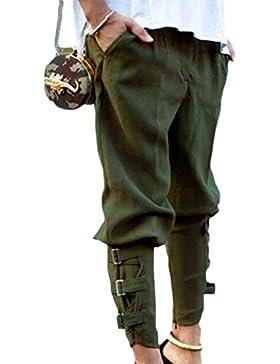 Zilcremo La Mujer Casual La Cintura Elastica Pantalones Cargo Venda Larga Pantalones Bombachos