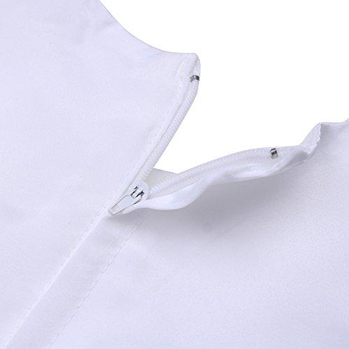 Tiaobug Baby Kleid für Mädchen weiß Taufkleider - baby festliche Kleider für Hochzeit Kommunionkleider 6-24 Monate Weiß 68-74 - 6