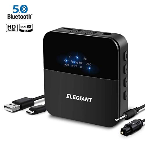 ELEGIANT Bluetooth 5.0 Adapter Audio Transmitter Empfänger aptX LL HD Sender Receiver 20 Stunden Spielzeit 20m Reichweite mit Optischem Toslink/SPDIF für TV Kopfhörer HiFi Lautsprecheranlage