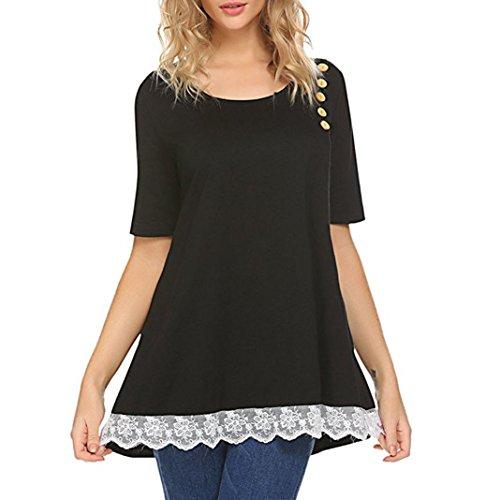 Tiffy Damen Bluse Elegant Sommer Kurzarm O Neck Unregelm IGE Casual Lace Button Shirt Lange Tunika-Oberteile T-Shirt