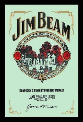 Jim Beam Sour Mash Bourbon Whiskey Nostalgie Barspiegel Spiegel Bar Mirror 22 x 32 cm