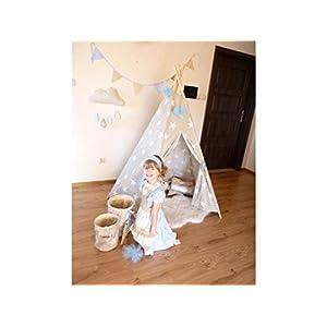 Tipi in großen Sternen, natürliche Leinwand Plain Kinder Tipi, Kinder spielen Zelt, Childrens Play House, Tipi, Kids Room Decor