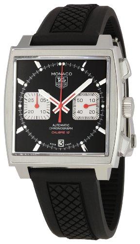 Tag Heuer Monaco Homme 39mm Chronographe Noir Cuir Bracelet Montre CAW2114.FT6021