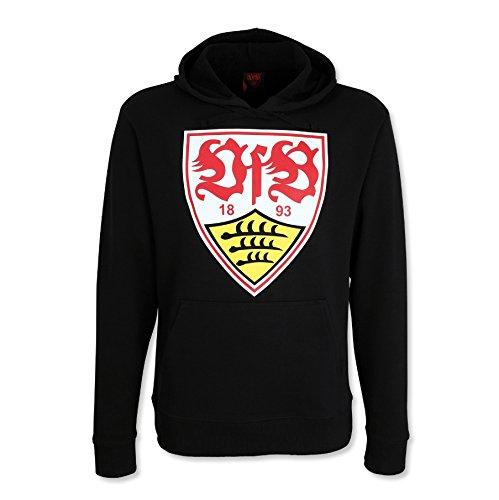 VfB Stuttgart Hoodie / Hoody / Sweater / Kapuzenpulli mit großem WAPPEN Brustprint schwarz MUST HAVE! in 8 verschiedenen Größen verfügbar ( S - 5XL) (L) (Bettwäsche Pullover Crewneck Baumwolle)