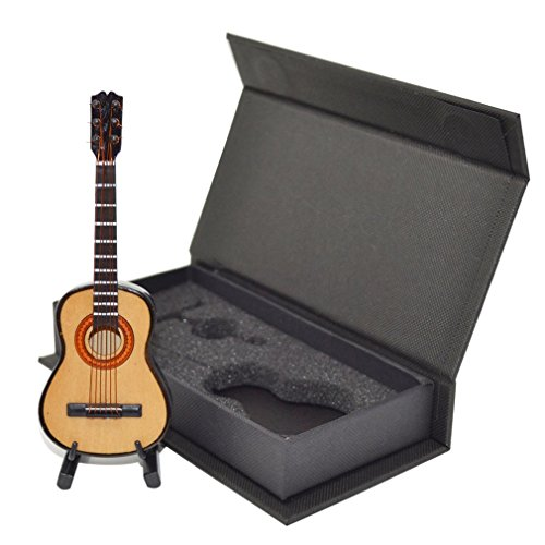 Decoración para el hogar, MG-245 Mini adornos musicales Modelo de guitarra de madera artesanal en miniatura Regalo de exhibición en casa