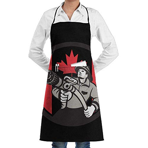 Firemans Jacke (Hipiyoled Grill Aprons Kitchen Chef Bib Canadian Firefighter Fireman Canada Flag Extra Long Adjustable Ties for Cooking,BBQ,Baking)