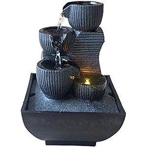 Zen Light Kini Zimmerbrunnen mit Pumpe und LED-Beleuchtung, Kunstharz, Einheitsgröße