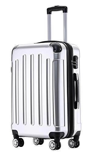 BEIBYE Zwillingsrollen 2048 Hartschale Trolley Koffer Reisekoffer Taschen Gepäck in M-L-XL-Set (Silber, XL)