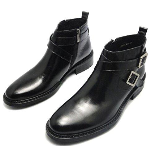 Botas De Hombre Botas De Hombre Zapatos De Cuero De Hombres Buckle De Inglaterra Ayuda Zapatos De Vestir Altos Negocios Negro