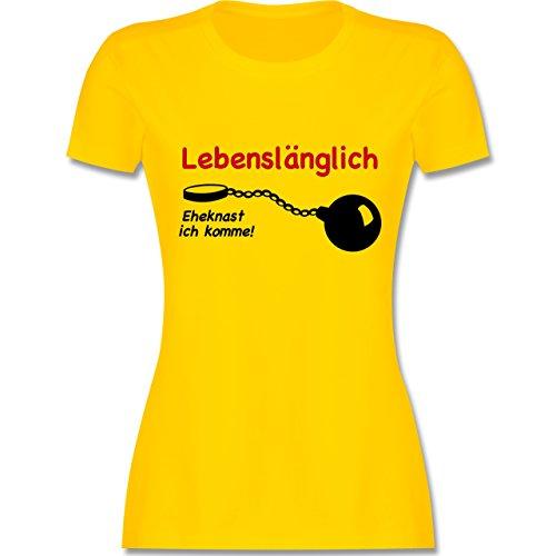 JGA Junggesellinnenabschied - Lebenslänglich - Eheknast ich komme - tailliertes Premium T-Shirt mit Rundhalsausschnitt für Damen Gelb