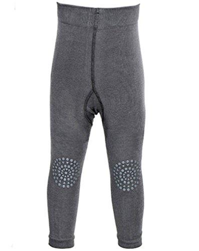 GoBabyGo Baby Leggings mit ABS Noppen an Knien (80/86, Dunkelgrau) - Kleinkinder Krabbel Leggins, Produziert in Europa | Mädchen, Junge 12-18 Monate