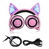 Plegable Cosplay Cat Ear Auriculares Bluetooth Wireless Wire Auriculares estéreo universales LED Luz Parpadeante Auriculares con micrófono
