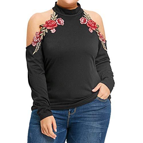 Camisas Mujer Manga Larga Bloque de Color Casual Blusas Tops del Camisetas,Lunes cibernético,Viernes Negro,Navidad y Halloween
