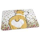 Kotdeqay Premium Wickelauflagen für Babywindelfor Infant Cute Floral Corgi Butt Portable Urine Pads 65 x 80 cm