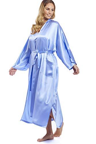 Jadee Kimono Bata para Mujer 100% Seda - Light Blue - XL -