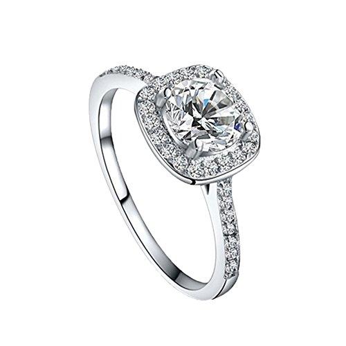 SODIAL(R) elegant rond carre diamant anneau de mariage bijoux mode pour les femmes (5 yards)