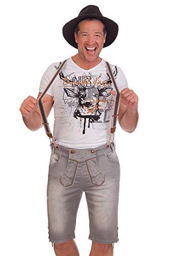 MarJo Leder & Tracht Trachten Jeansshorts mit Hosenträger - Emilio - Grau, Größe 44