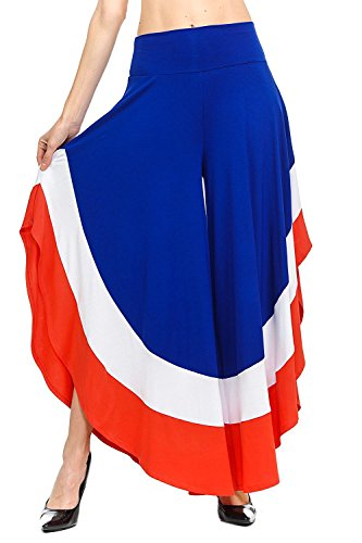 YACUN Le Donne Culotte Ampia Gamba Pantaloni Color Isolato Lungo La Falda È In Basso Blue